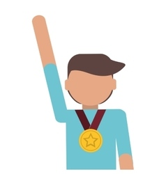 man winner medal champion award vector image