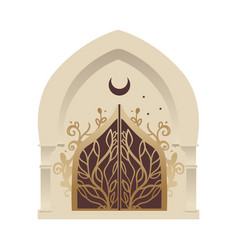 Minaret or mosque entrance gate with a forged vector