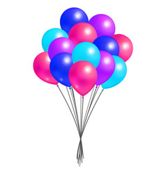 multicolor flying balloon bundle realistic design vector image