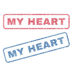 My heart textile stamps vector