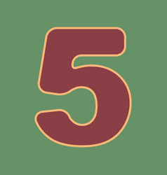 Number 5 sign design template element vector