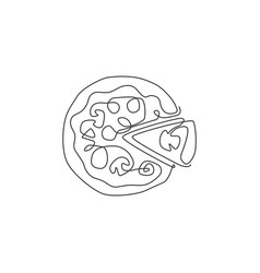 one single line drawing fresh italian pizzeria vector image