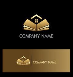 open book golden home logo vector image