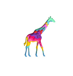 Paper cut giraffe safari animals shape 3d origami vector