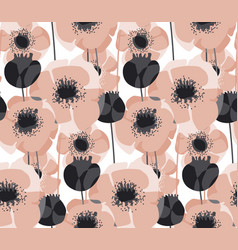pastel pink poppy floral seamless pattern vector image