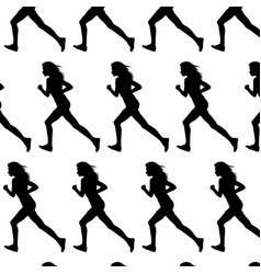 pattern with silhouette running girl made in vector image