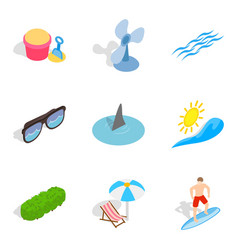 Peaceful rest icons set isometric style vector