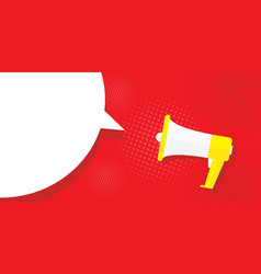 Picture megaphone on a red background pop art vector