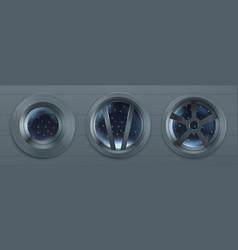 porthole in spaceship metal round windows vector image