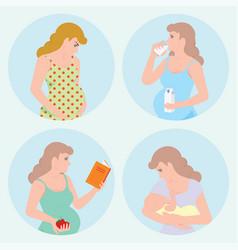 Pregnant women icons set vector