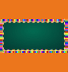 rectangle frame made of colorful pencils on green vector image