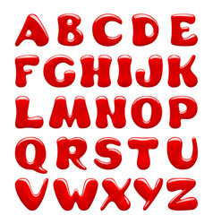 Red glossy alphabet capital letters isolated on vector