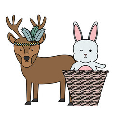 Reindeer and rabbit with feathers hat and basket vector