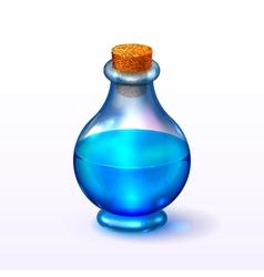 Round glass corked bottle vector