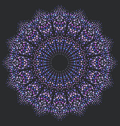 round mandala made of dots different color size vector image