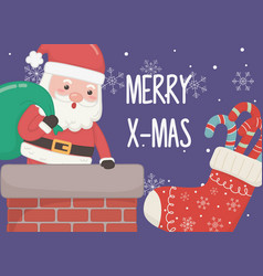 santa with bag gifts in chimney merry christmas vector image