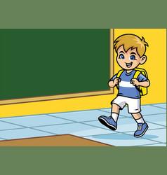 School kid walking in the calss room vector