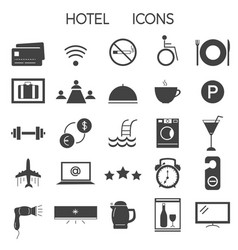 set modern signs and icons for hotel services vector image