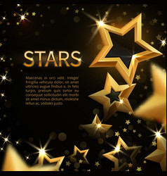 Shiny sparkling gold stars on black abstract vector