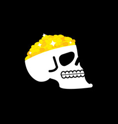skull with gold pirate casket head of skeleton vector image