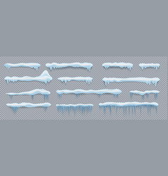 snow caps roand window decorative elements vector image