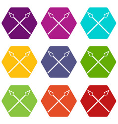 spear icons set 9 vector image
