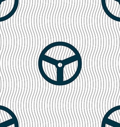 Steering wheel icon sign Seamless pattern with vector