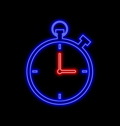 Stopwatch neon sign bright glowing symbol on a vector