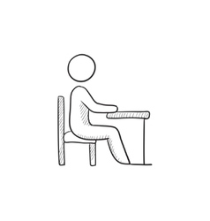 Student sitting on chair at the desk sketch icon vector