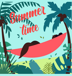 summer time girl in hammock is summer ready vector image