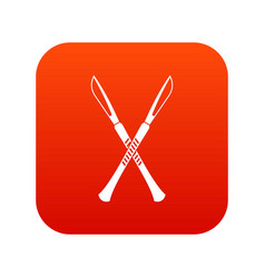 Surgeon scalpels icon digital red vector