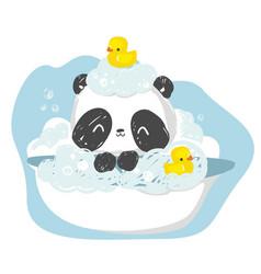 Take a bath panda bear hand drawn cute rubber vector