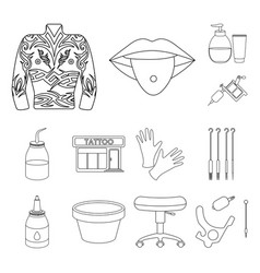 tattoo drawing on the body outline icons in set vector image