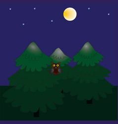 the night forest and the full moon vector image