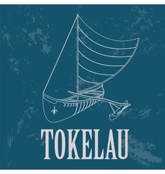 Tokelau Polynesian canoeing Retro styled image vector image