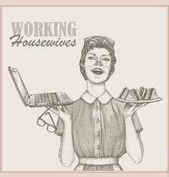 vintage working housewife wallpaper vector image
