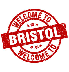 welcome to bristol red stamp vector image