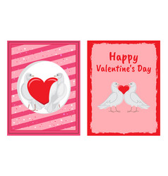 white doves couples with heart set vector image