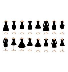 woman black dresses fashion icon set vector image