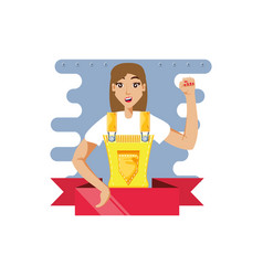 Worker construction woman with ribbon vector