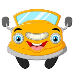 Yellow funny cartoon car vector