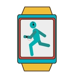 yellow square watch with cartoon human working out vector image