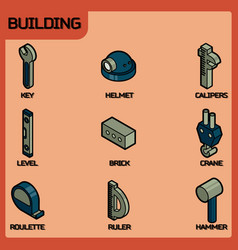 building color outline isometric icons vector image vector image