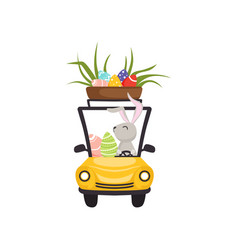 Cute bunny driving yellow vintage car with basket vector