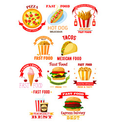 fast food restaurant lunch meal symbol set vector image vector image