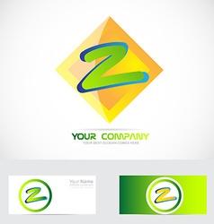 Letter Z green orange logo vector image