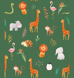 watercolor baby pattern vector image