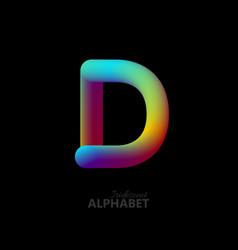 3d iridescent gradient letter d vector image