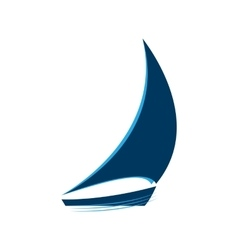 Blue sailboat on the waves logo vector image