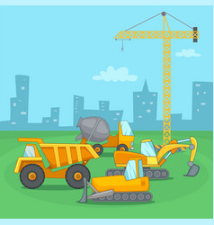 building process concept vehicle cartoon style vector image